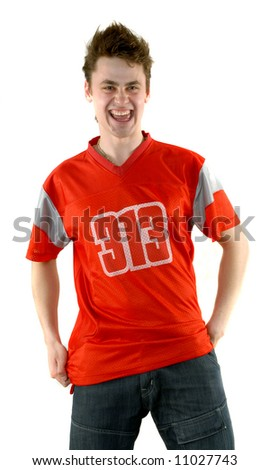 young man in a red t-shirt