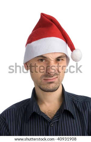 Young man in a Santa hat isolated on white