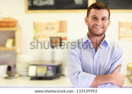 Young man in a store - stock photo