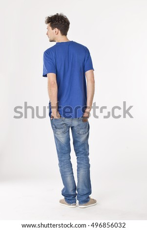 Young man in blue back portrait