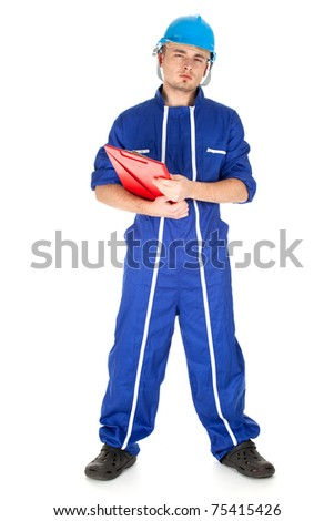 young man in blue coveralls with clipboard