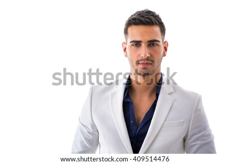 Young man in blue shirt and white jacket isolated - stock photo