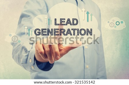 Young man in blue shirt pointing at Lead Generation - stock photo