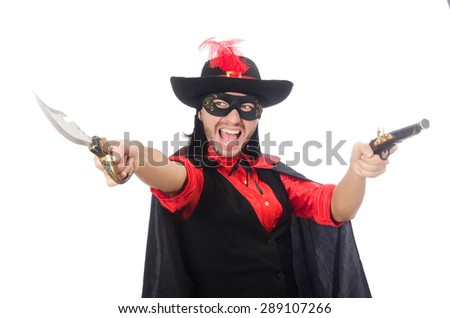 Young man in carnival coat with gun isolated on white - stock photo