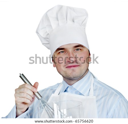 Young man in chef hat