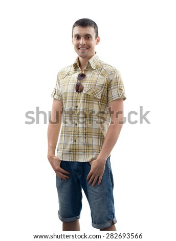 young man in denim shorts and a shirt
