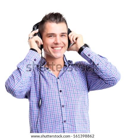young man in headphones - stock photo