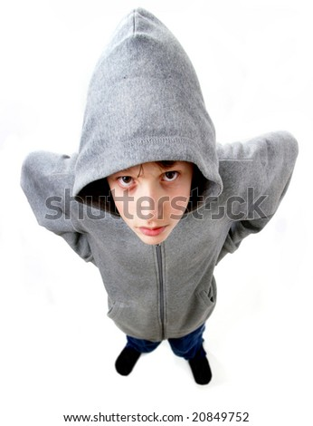 Young man in hooded top - stock photo