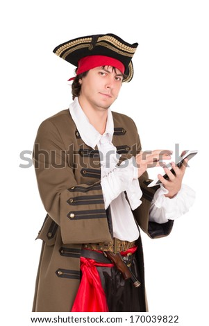Young man in medieval costume posing with a tablet. Isolated on white - stock photo