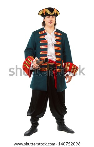 Young man in medieval military uniform. Isolated on white   - stock photo