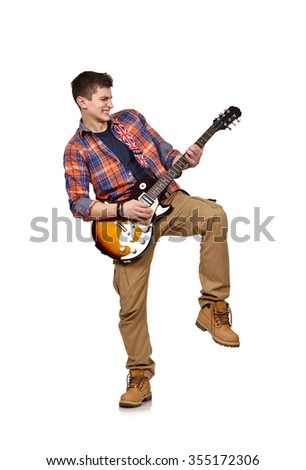 young man in shirt with guitar on white background
