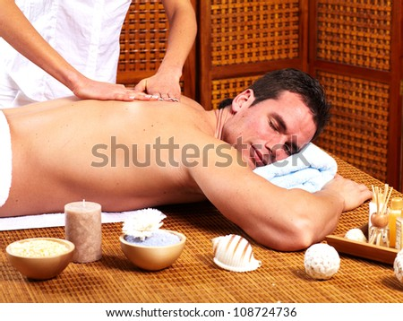 Young man in Spa massage salon. Relax. - stock photo