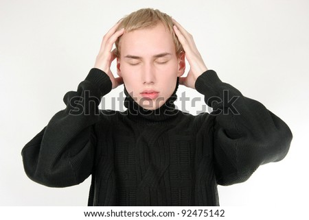 young man in stress over white - stock photo