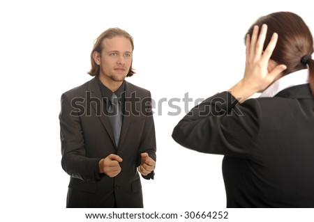 young man in suite and woman with hand at head - stock photo