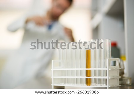Young man in the lab - stock photo