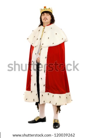 Young man in the royal costume. Isolated - stock photo