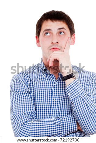 Young man in thoughtful pose. Isolated over white. - stock photo