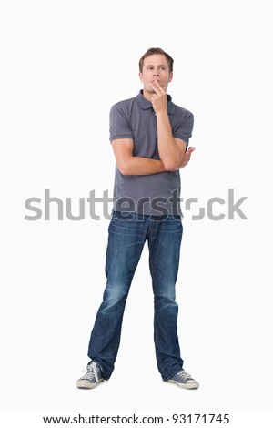 Young man in thoughts against a white background