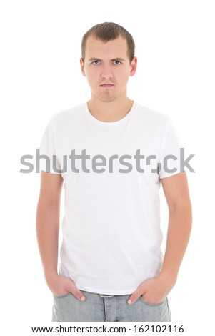 young man in white t-shirt isolated on white - stock photo