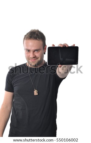 Young man is holding tablet isolated on white background, copy space