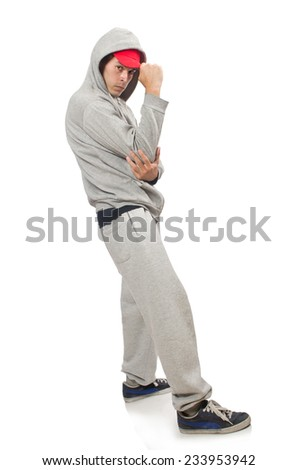 Young man isolated on the white background - stock photo