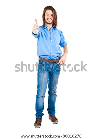 Young man isolated on white full length with thumbs up - stock photo