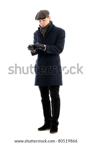 Young man. Isolated over white. - stock photo