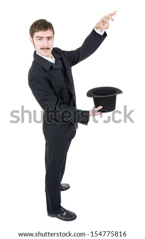 young man magician isolated on white - stock photo
