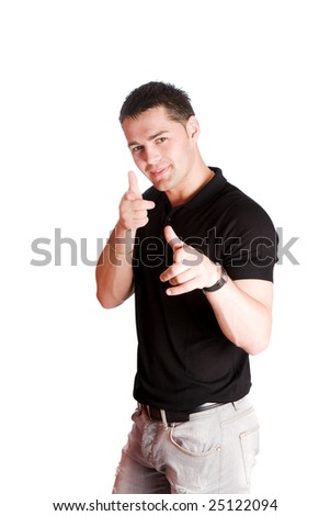 Young man making funny Shooting gesture isolated on white - stock photo