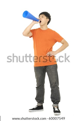 young man making plastic announcement - stock photo