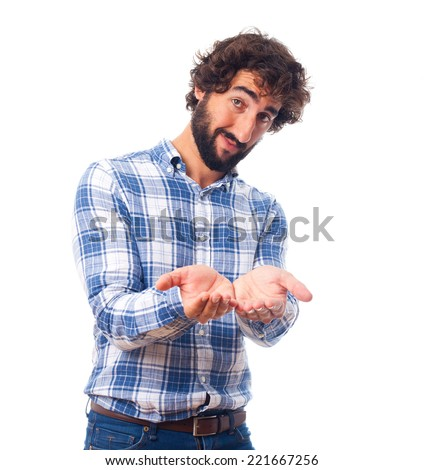 young man offering - stock photo