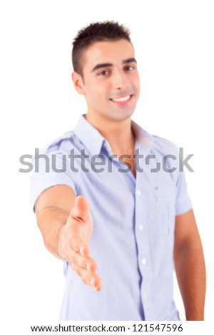 Young man offering handshake, isolated over a white background - stock photo