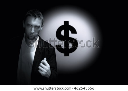 Young man on background dollar sign