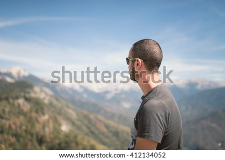 Young man on nature, Moro Rock, aerial view of Sequoia National park