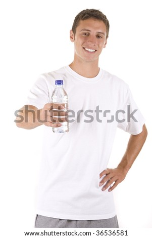 Young man on white with a water bottle.