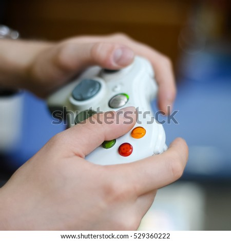 Young man playing a video games