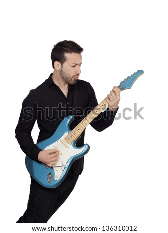Young Man Playing Guitar Over White Background - stock photo