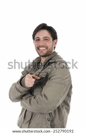 Young man pointing towards camera isolated on white - stock photo