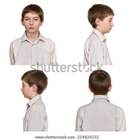 young man portrait composite (fullfaced and profile) - stock photo