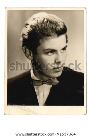 young man portrait - photo scan - about 1960 - stock photo