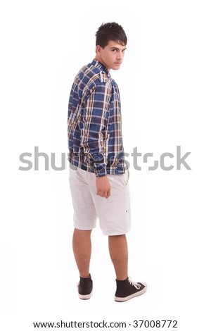 Young man posing isolated over white background