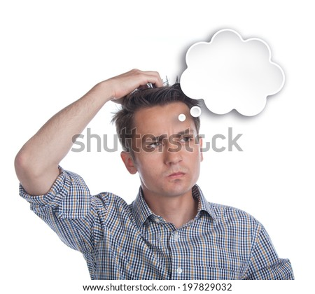 Young man posing thoughtful with a text bubble on white background - isolated - stock photo