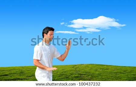 Young man practicing Tai Chi on grassy hill on a bright sunny day