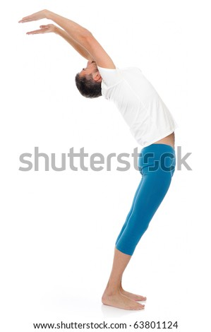 young man practising yoga postures combination suri namaskar. isolated on white background