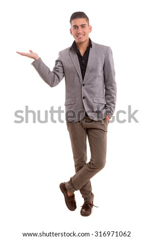 Young man presenting your product, isolated over a white background - stock photo