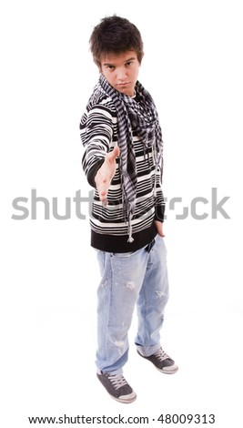 young man ready for handshake, on white background