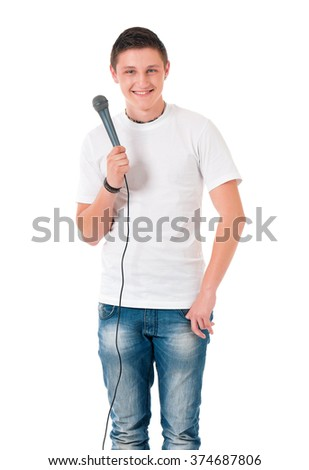 Young man reporter holding a microphone, isolated on white background