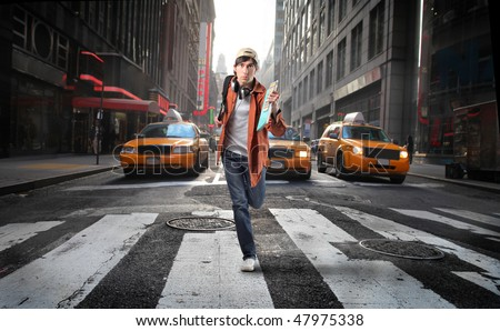 young man run in the city - stock photo