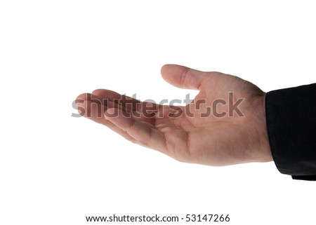young man's hand with a black business shirt sleeve - isolated on white - stock photo
