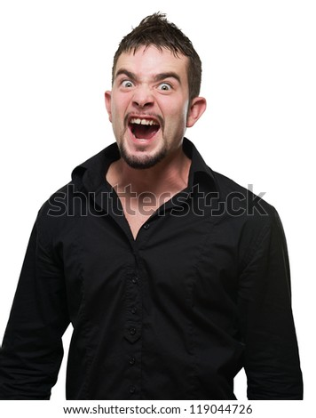 Young Man Screaming On Isolated White Background - stock photo